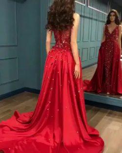 Rotes Abendkleid Lang Günstig | Rote Kleider mit Spitze