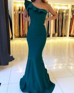 Schlichtes Abendkleid Grün | Abendkleider Lang Günstig Online