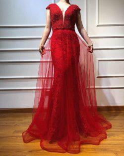 Rote Abendkleider Lang Günstig | Spitze Abiballkleider Online
