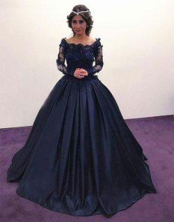 Elegante Navy Blau Abendkleider Lang Günstig Mit Ärmel Prinzessin Spitze Abendmoden