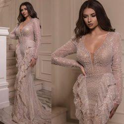 Luxus Abendkleid Mit Ärmel | Pailletten Abiballkleider Lang Online Kaufen