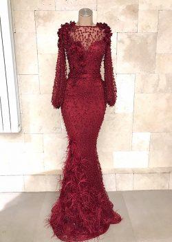 Fashion Abendkleider Lang Spitze Rot   Abiballkleid Mit Ärmel