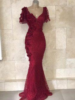 Festliche Kleider Abendkleid Weinrot   Abendkleider Lang Mit Ärmel