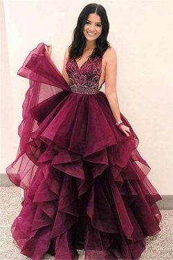 Glamorous V-Neck Sleeveless Appliques Tulle A-Line Floor-Length Prom Dresses | www.babyonlinewho ...