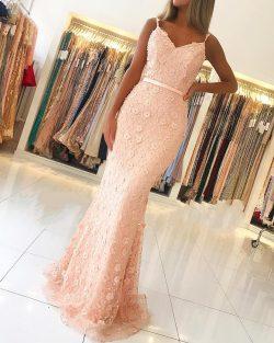 Luxus Abendkleider Lang Rosa | Abiballkleider Spitze Online