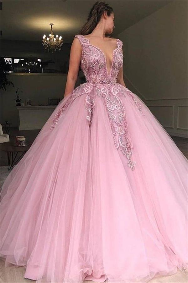 Elegante Abendkleider Lang Rosa | Abiballkleider Günstig ...