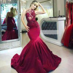 Elegante Abendkleider Lang Rot | Abendmoden mit Spitze Online