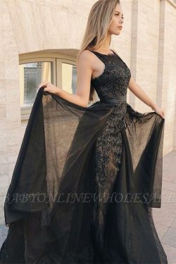 Sexy Mermaid Sleeveless Evening Gowns | Black Appliques Lace Overskirt Prom Dresses 2019 | www.b ...
