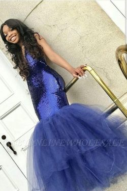 Sexy Navy Blue Mermaid Sequins Prom Dresses | Cheap Tulle Sleeveless V-Neck Evening Dresses | ww ...