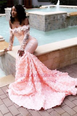 Sexy Off The Shoulder Pink Prom Dresses 2019 | Long Sleeve Lace Mermaid Flowers Cheap Evening Go ...