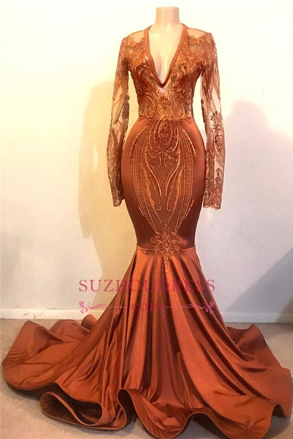 Cheap Dust Orange Mermaid Prom Dresses with Sleeves | V-neck Lace Appliques Real Evening Dress O ...