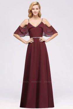 elegant A-line Chiffon V-Neck Spaghetti Straps Sleeveless Floor-Length Bridesmaid Dresses with B ...