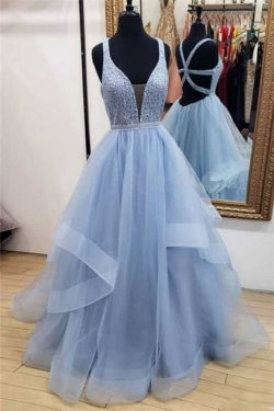 Elegant Lace Straps Lace Appliques Prom DressesTiered Lace-Up Sleeveless Evening Dresses | www.2 ...