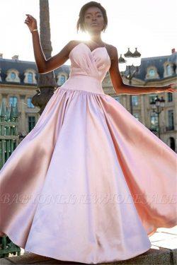 Elegant Simple Pink Spaghetti-Straps Prom Dresses | 2019 Sleeveless A-Line Ruffles Cheap Evening ...