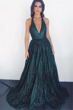 Glamorous Dark Green Halter without Sleeve A-Line Prom Dress UK | www.27dress.co.uk