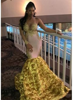 Gorgeous Long Sleeve Yellow Prom Dress | 2019 Mermaid Evening Gown With Flower Bottom_Prom Dress ...