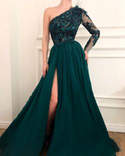 Dunkel Grüne Abendkleider mit Ärmel | Spitze Abendkleid Chiffon