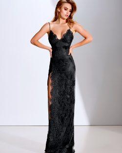 Elegante Abendkleider Lang Schwarz | Spitze Abendmoden Online