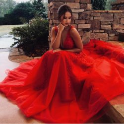 Modern Abendkleider Lang Rot | Spitze Abendkleid Tüll