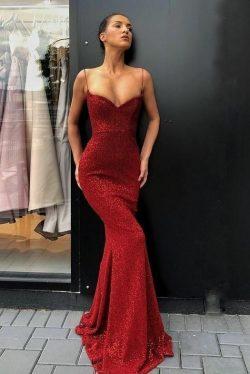 Elegante Rote Abendkleider Lang | Abiballkleider Mit Glitzer Günstig
