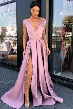 Pink Straps Deep-V-Neck Side-Slit A-Line Prom Dresses | www.babyonlinewholesale.com
