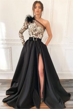 Sexy Blcak One-Shoulder Side-Slit Feather Applique Prom Dress | Suzhou UK Online Shop | Suzhoudr ...