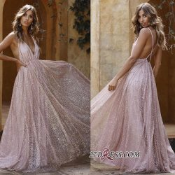 Sexy Pink Sequins A-Line Prom Dresses | Spaghetti Straps Backless Evening Dresses_Prom Dresses_S ...