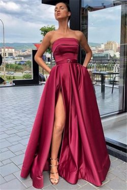 Trendy Burgundy Maroon Strapless Side-Split A-Line Evening Dress UK | www.27dress.co.uk