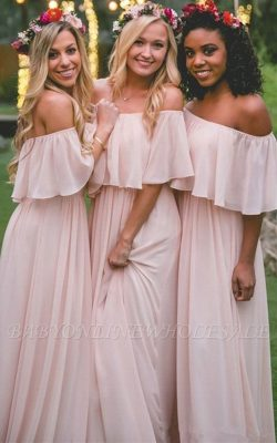Baby Pink Off The Shoulder Bridesmaid Dresses Cheap | Chiffon Sexy Bridesmaid Dress