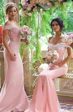 Elegant Blushing-Pink Off-the-Shoulder Lace-Appliques Long Bridesmaid Dresses