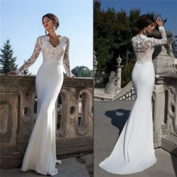 Charming Long Sleeves Crew Wedding dress | Ling Mermaid Lace 2018 Bridal Gowns BC1702