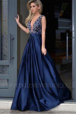 Sexy blaues abendkleid V Ausschnitt | Abendkleider Bodenlang Günstig
