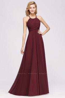 A-Line Chiffon Halter Ruffles Floor-Length Bridesmaid Dress | BmBridal