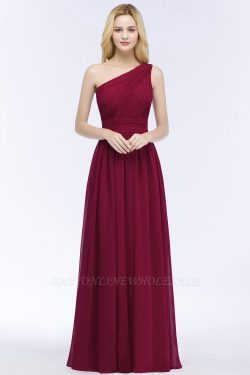 PATTIE | A-line One-shoulder Floor Length Burgundy Ruffled Chiffon Bridesmaid Dresses