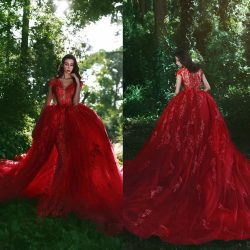 Applique Red Lace Glamorous Over-Skirt V-Neck Prom Dresses