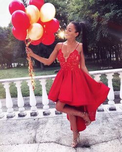 Cute Red High-low A-line Lace V-neck Homecoming Dress BA6902 | www.babyonlinewholesale.com
