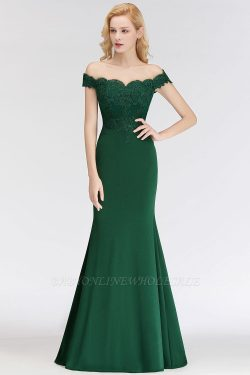 NOLA | Mermaid Off-the-shoulder Long Appliques Satin Bridesmaid Dresses