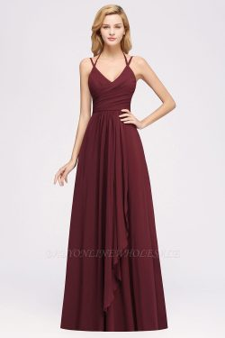 A-line Chiffon Spaghetti Straps Sleeveless Ruffles Floor-Length Bridesmaid Dresses