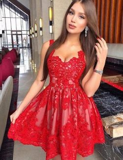 Fashion A-Line Straps Appliques Lace Mini Prom Dress | www.babyonlinewholesale.com