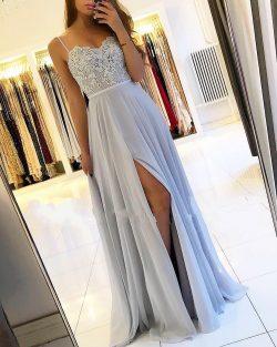 Sexy Silber Abendkleider Lang Chiffon   Abendkleid Mit Spitze Online