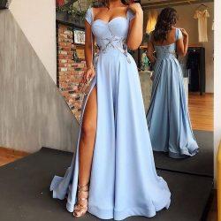 Hell Blaues Abendkleider Lang Günstig | Abiballkleider Online Kaufen