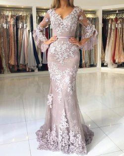 Fashion Abendkleider Lang Spitze Mit Ärmel Bodenlange Abendmoden Ballkleider Online