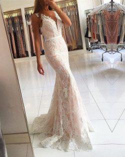 Elegante Weißes Abendkleid Lang Günstig | Spitze Abendmoden Online