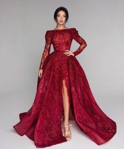 Luxus Abendkleider,Abendkleider Mit Ärmel ,Spitze Abiballkleider ,Abiballkleider Lang Rot