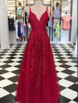 Abendkleider Lang Rot Spitze   Abendmode Günstig Online Kaufen