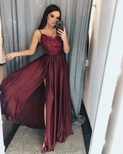 Schlichte Abendkleider Weinrot | Abendmoden Lang Günstig Online