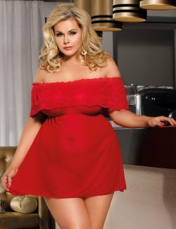 Hot Plus Size Red Lace Off Shoulder Babydoll Dress