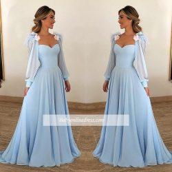 Elegante Abendkleider Lang Günstig | Abiballkleider Blau Online