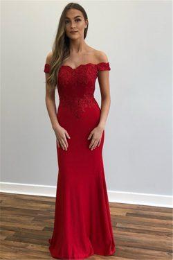 Schlichte Abendkleider Lang Rot | Blaue Abiballkleider Online