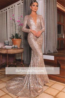 Modern Abendkleider Mit Ärmel | Abiballkleider Lang Glitzer Online
